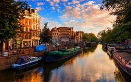 Preview wallpaper Netherlands, Amsterdam, river, boats, trees, city, sunshine