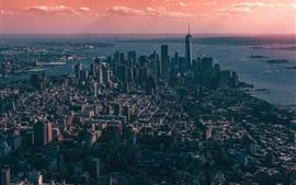 壁紙のプレビュー ニューヨーク、アメリカ、高層ビル、海、都市、雲、夕暮れ