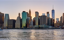 Preview wallpaper New York, city, skyscrapers, river, USA, dusk