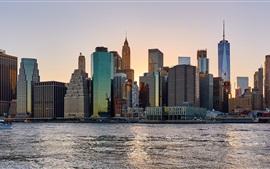 Nueva York, ciudad, rascacielos, río, Estados Unidos, anochecer