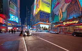 New York, night street, roads, buildings, lights, USA