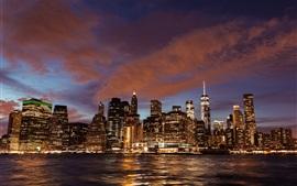 Nova Iorque, arranha-céus, edifícios, rio, luzes, noite, EUA