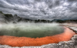 New Zealand, hot spring, fog, clouds