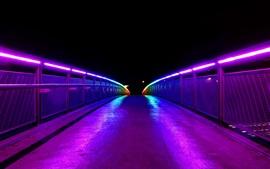 Ночь, мост, освещение, освещение