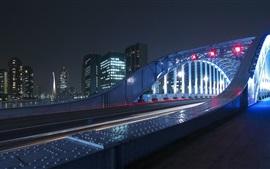 Preview wallpaper Night, city, bridge, illumination