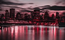 Night, city, buildings, lights, river, boats, purple style