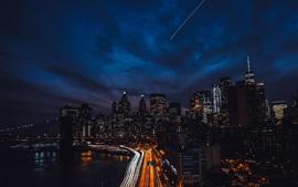 Night, city, skyscrapers, roads, lights, river, bridge