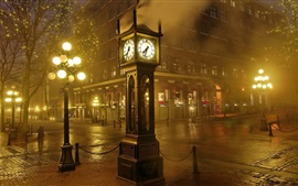 Preview wallpaper Night, city, street, clock, lights, fog