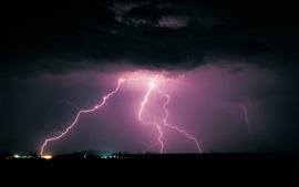 Aperçu fond d'écran Nuit, nuages, éclair