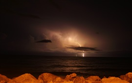 Night, lightning, storm, clouds, sea
