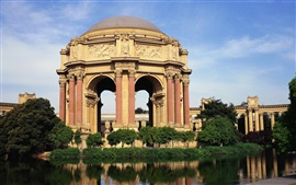 Preview wallpaper Palace of Fine Arts, San Francisco, USA, gazebo, lake, trees