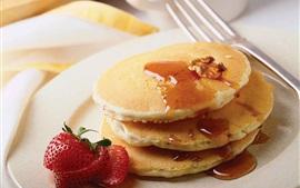 Pancakes, strawberry, breakfast