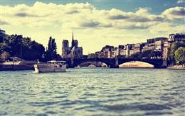 Paris, France, river, bridge, city, dusk