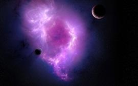 壁紙のプレビュー 紫色の星雲と惑星