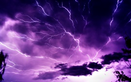 Purple sky, clouds, lightning, nature power