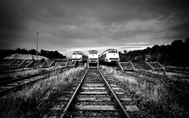 Railway station, track, train, black and white picture
