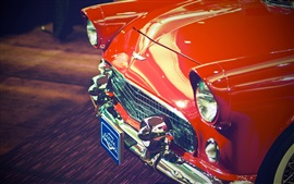 Preview wallpaper Red classic car front view, headlight