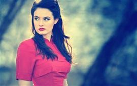미리보기 배경 화면 빨간 드레스 여자를 다시 봐