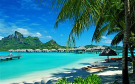 Aperçu fond d'écran Resort, cabanes, mer, palmiers, île de Bora Bora, français