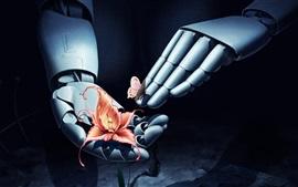 Preview wallpaper Robot hands, flower, butterfly