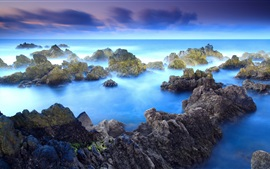 Preview wallpaper Rocks, blue sea, dawn