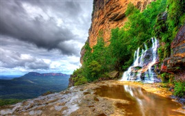 Rocks, mountains, waterfalls, clouds, nature landscapes