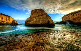 Preview wallpaper Rocks, sea, clouds, dusk, coast