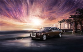 Preview wallpaper Rolls Royce Ghost luxury car, brown, city, sunset