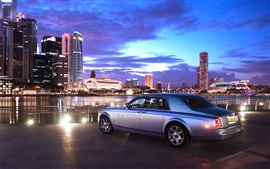 Preview wallpaper Rolls Royce luxury car rear view, city, night, lights