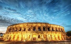 Preview wallpaper Rome, Italy, colosseum, lights, night, blue sky