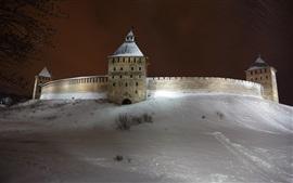 Rusia, Veliky Novgorod, pared, nieve, invierno