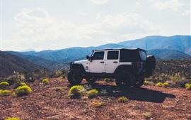 Voiture SUV dans le sommet de la montagne