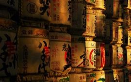 Sake bodega, barriles, cultura japonesa