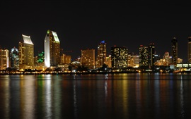 Preview wallpaper San Diego, city, night, buildings, river, lights, USA