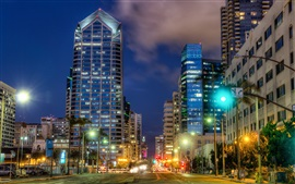 Preview wallpaper San Diego, night view, city, street, buildings, lights, USA