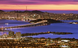 San Francisco, beautiful city night, buildings, river, bridge, illumination, USA