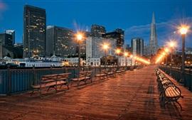 São Francisco, ponte, rua, bancada, lâmpadas, cidade noturna, EUA