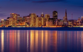 Preview wallpaper San Francisco, night view, city, skyscrapers, river, reflection
