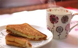 Сэндвич, торт, чашка, пар