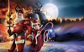 Preview wallpaper Santa Claus, deer, moon, night, art picture