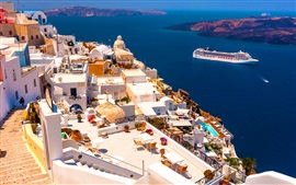 Preview wallpaper Santorini, Greece, houses, sea, ship, sunshine