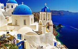 Santorini, Grecia, mar, edificios