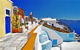 Santorini, Grécia, rua, casas, estilo branco