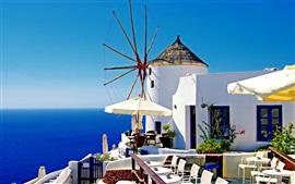 Santorini, Grécia, casas brancas, mar azul, luz do sol