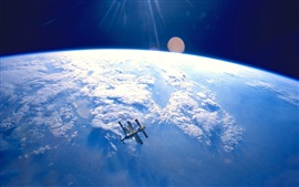 Satellite, blue earth, space, clouds
