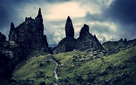 Escócia, rochas, crepúsculo, nuvens, cenário da natureza