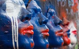 Escultura, rosto, pintado