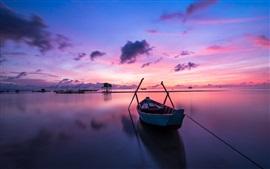 海、ボート、日没、雲、夕暮れ