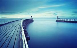 Mar, muelle, azul