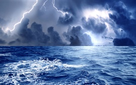 Sea, waves, storm, clouds, lightning